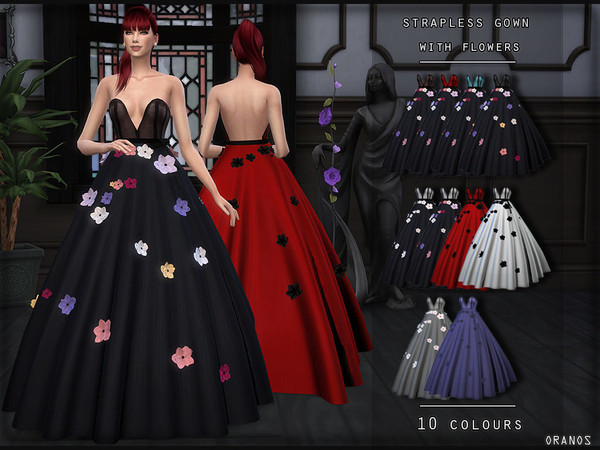 Sims 4 Strapless Gown With Flowers by OranosTR at TSR