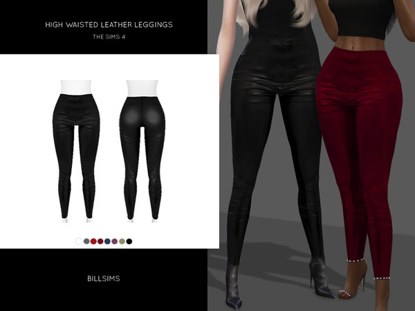 Sims 4 High Waisted Leather Leggings by Bill Sims at TSR