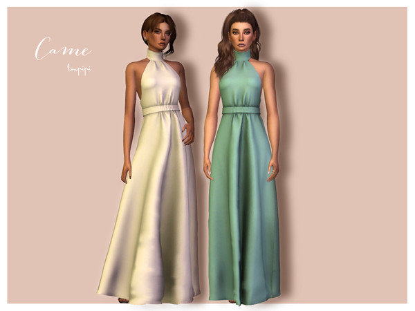 Sims 4 Came long dress tied to the neck with belt by laupipi at TSR