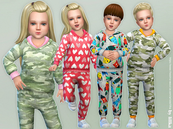 Sims 4 Printed Overall for Toddler by lillka at TSR