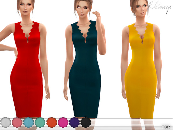Wave Neck Midi Dress by ekinege at TSR image 3025 Sims 4 Updates