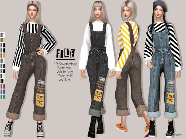 Sims 4 FILE Denim Overalls by Helsoseira at TSR