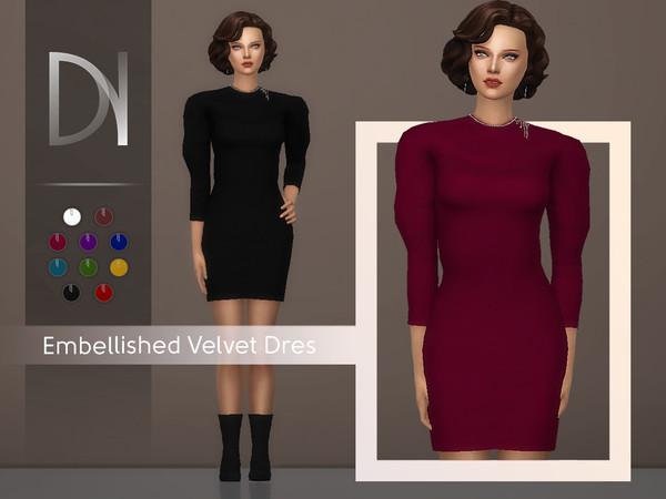Embellished Velvet Dress by DarkNighTt at TSR image 3116 Sims 4 Updates