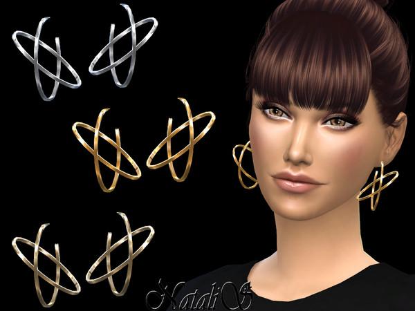 Sims 4 Criss cross hoop earrings by NataliS at TSR