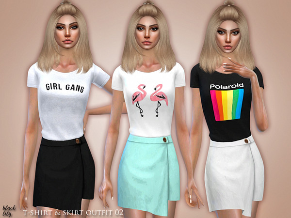 Sims 4 T Shirt & Skirt Outfit 02 by Black Lily at TSR