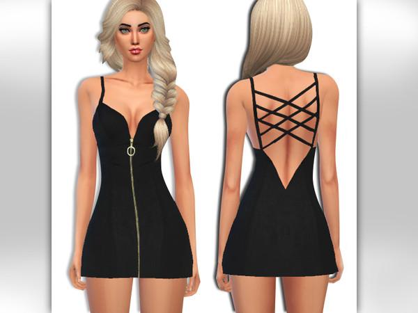 Sims 4 Front Gold Zipper Little Black Dress by Saliwa at TSR