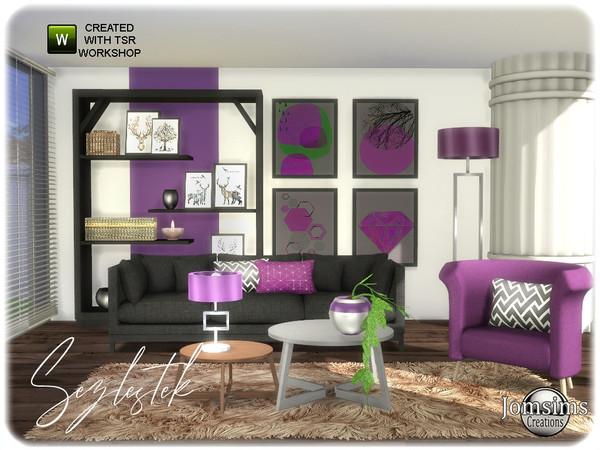 Sims 4 Sezlestek living room by jomsims at TSR
