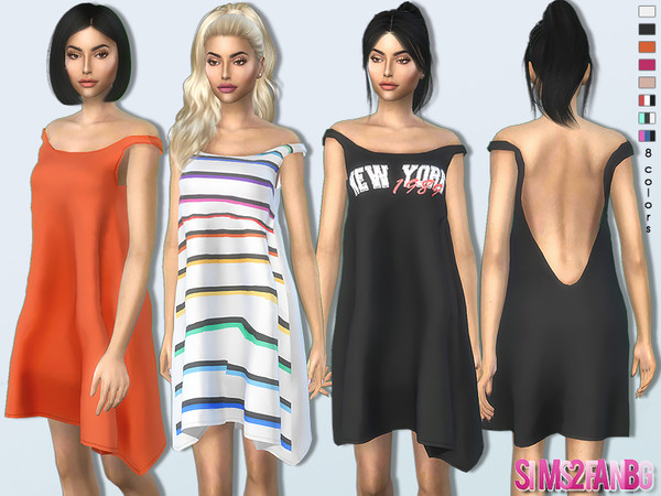 Sims 4 369 Bare Shoulder Dress by sims2fanbg at TSR