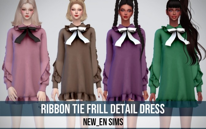 Ribbon Tie Frill Detail Dress at NEWEN image 395 670x419 Sims 4 Updates