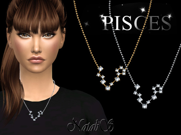 Sims 4 Pisces zodiac necklace by NataliS at TSR