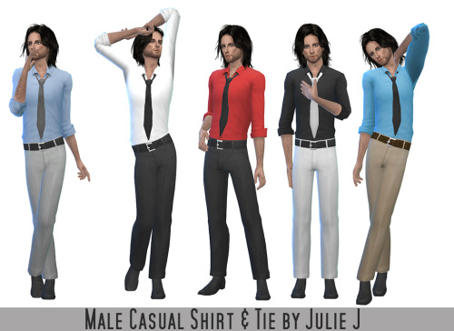 Male Casual Shirt & Tie at Julietoon – Julie J image 4321 Sims 4 Updates