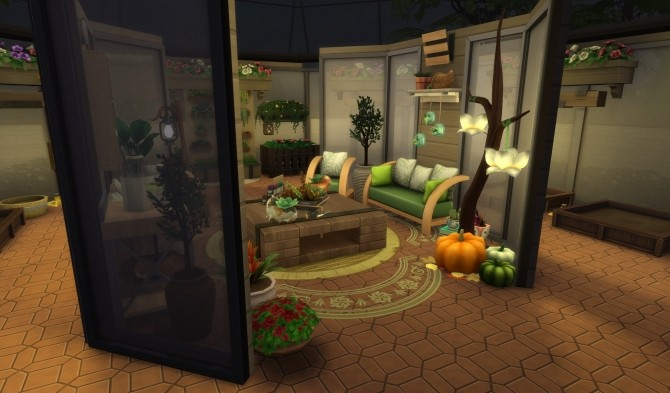 Sims 4 Cozy Glass Green House (no CC) by PinkyDude at Mod The Sims