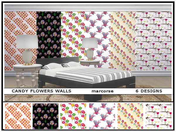 Candy Flowers Walls by marcorse at TSR image 453 Sims 4 Updates