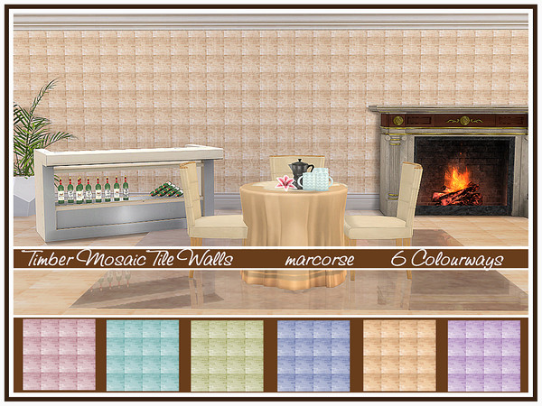 Sims 4 Timber Mosaic Tile Walls by marcorse at TSR
