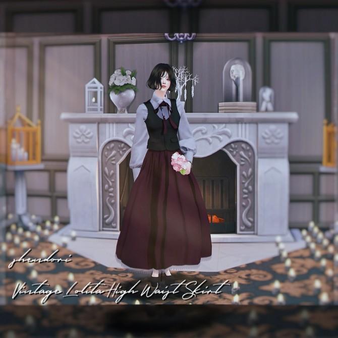 Vintage Lolita High Waist Skirt at SHENDORI SIMS image 469 670x670 Sims 4 Updates