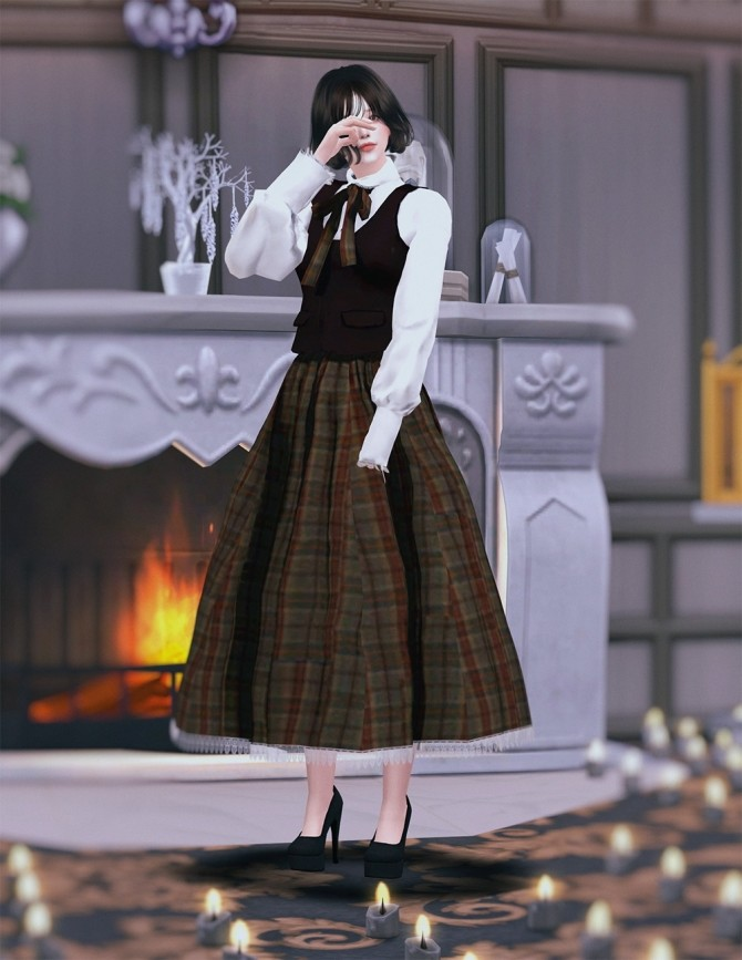 Sims 4 Vintage Lolita High Waist Skirt at SHENDORI SIMS
