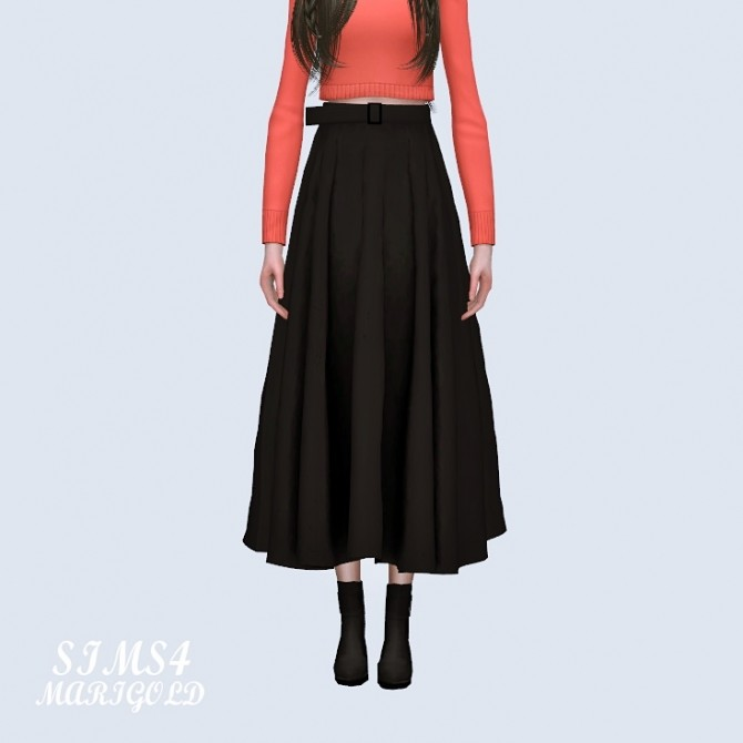 Sims 4 Long Flare Skirt With Belt at Marigold