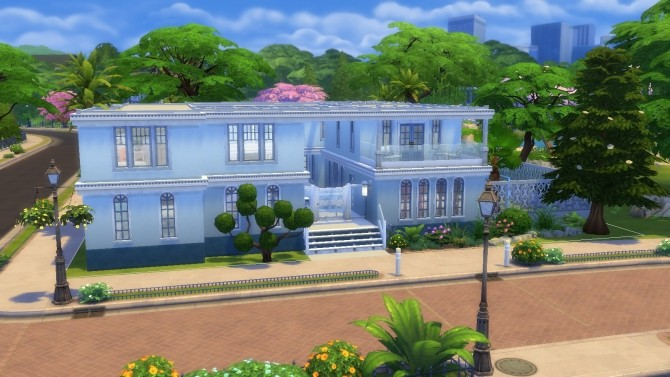 Blue and White Floridian Mansion by thegrimtuesday at Mod The Sims image 507 670x377 Sims 4 Updates