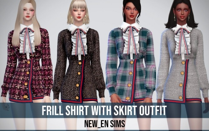 Sims 4 Frill Shirt With Skirt Outfit at NEWEN