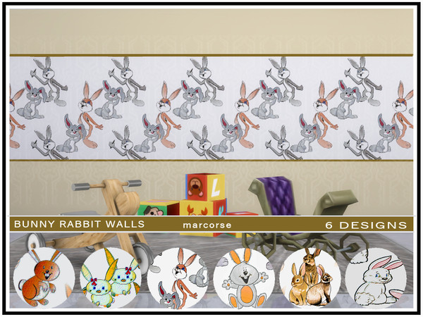 Bunny Rabbit Walls by marcorse at TSR image 514 Sims 4 Updates