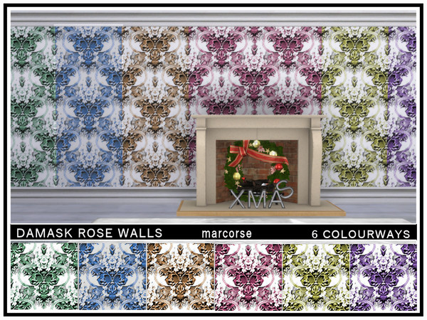 Damask Rose Walls by marcorse at TSR image 518 Sims 4 Updates