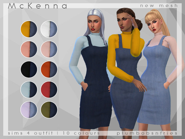 PnF McKenna Overall Dress Jumper by Plumbobs n Fries at TSR image 5317 Sims 4 Updates