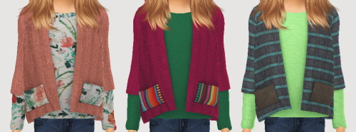 Sims 4 Sketchbookpixels Malou 3T4 short coat over a long tee for kids at Simiracle