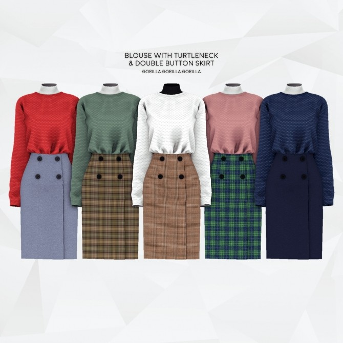 Sims 4 Blouse with Turtleneck & Double Button Skirt at Gorilla