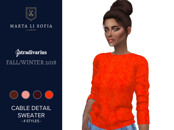 Sims 4 Cable Detail Sweater by martalisofia at TSR