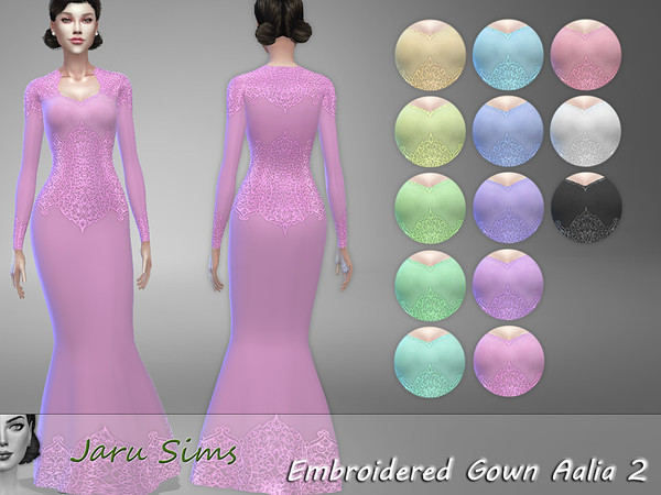 Sims 4 Embroidered Gown Aalia 2 by Jaru Sims at TSR