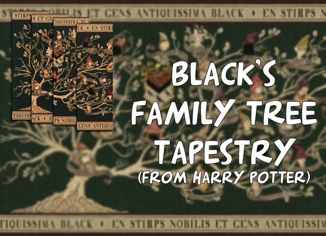 Sims 4 Blacks family tree tapestry (Harry Potter) by iSandor at Mod The Sims