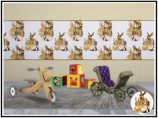 Bunny Rabbit Walls by marcorse at TSR image 714 Sims 4 Updates