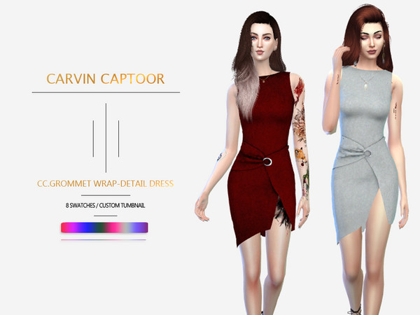 Grommet Wrap Detail Dress by carvin captoor at TSR image 7216 Sims 4 Updates