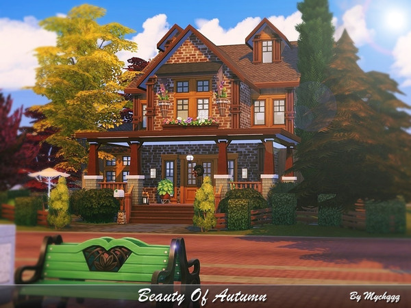 Sims 4 Beauty Of Autumn house by MychQQQ at TSR