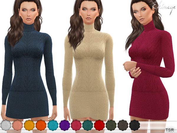 Turtleneck Sweater Dress by ekinege at TSR image 7717 Sims 4 Updates