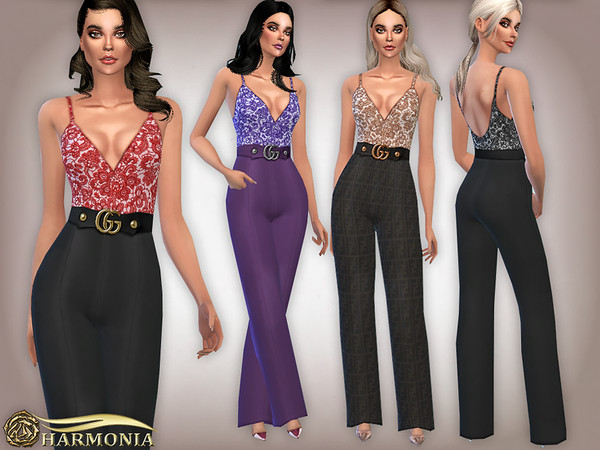 Sims 4 Lace Wide Leg Jumpsuit by Harmonia at TSR