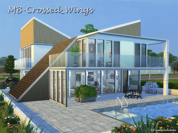 Sims 4 MB Crossed Wings house by matomibotaki at TSR
