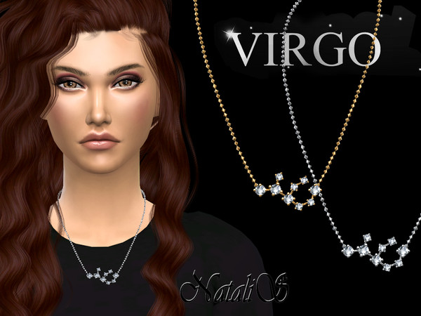 Sims 4 Virgo zodiac necklace by NataliS at TSR
