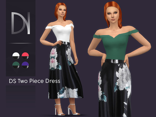 Sims 4 DS Two Piece Dress by DarkNighTt at TSR