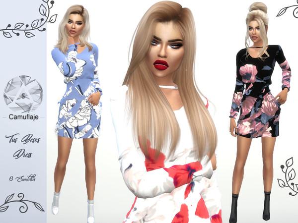 Sims 4 Tus Besos Dress by Camuflaje at TSR