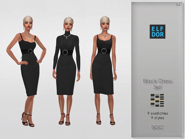 Sims 4 Black Dress Set at Elfdor Sims