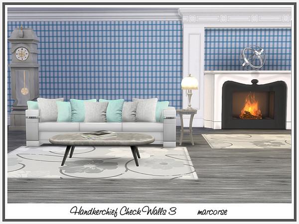 Sims 4 Handkerchief Check Walls by marcorse at TSR
