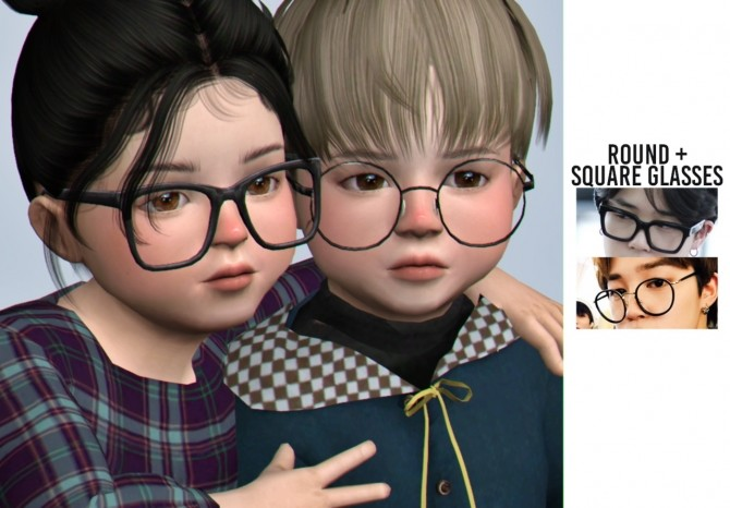 Sims 4 Round + square glasses at Casteru