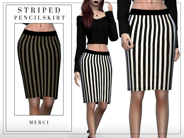 Sims 4 Striped Pencil Skirt by Merci at TSR
