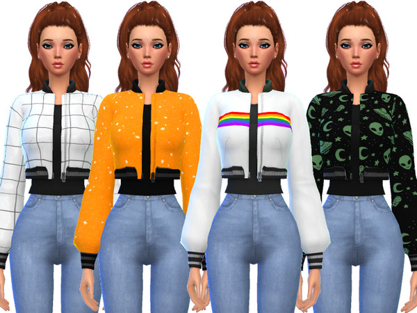 Sims 4 Snazzy Bomber Jacket Top by Wicked Kittie at TSR