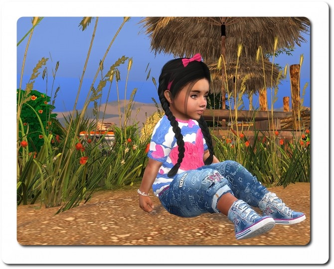 Sims 4 Shirt, Harem Pants, denim sneakers & Headband at Sims4 Boutique