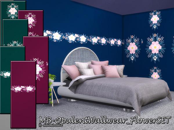 MB Opulent Wallwear Flower SET by matomibotaki at TSR image 11 Sims 4 Updates