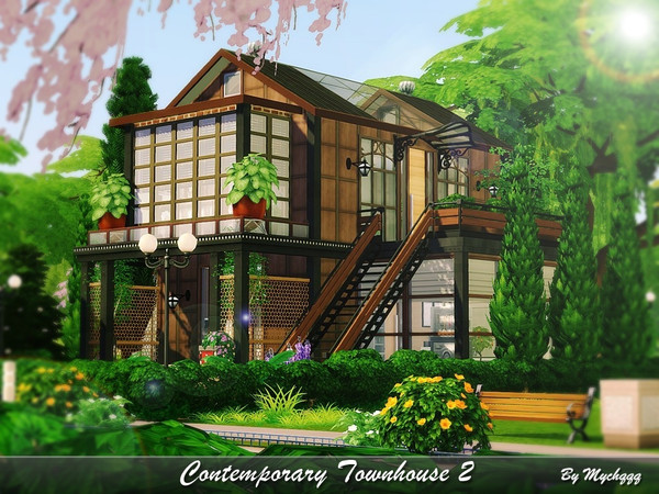 Sims 4 Contemporary Townhouse 2 by MychQQQ at TSR