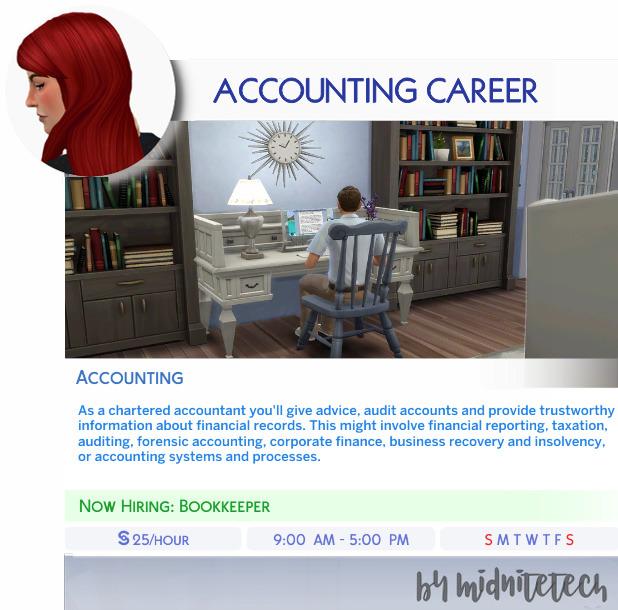 Sims 4 ACCOUNTING CAREER at MIDNITETECH'S SIMBLR