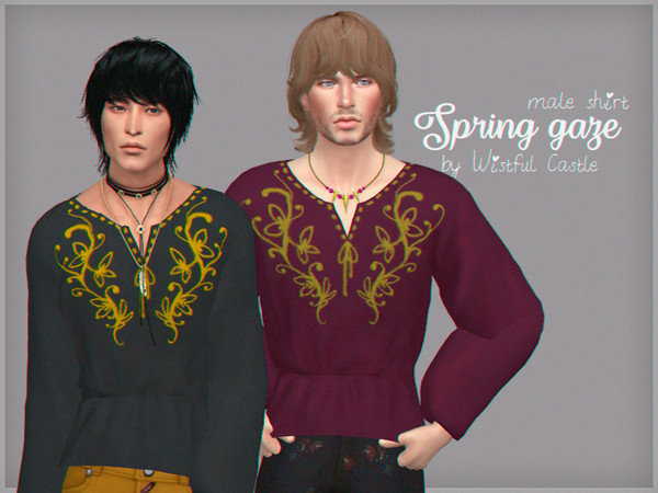 Spring gaze male shirt by WistfulCastle at TSR image 1150 Sims 4 Updates